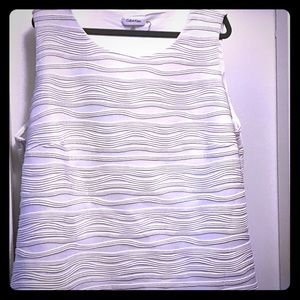 Calvin Klein White Sleeveless Dress Shirt